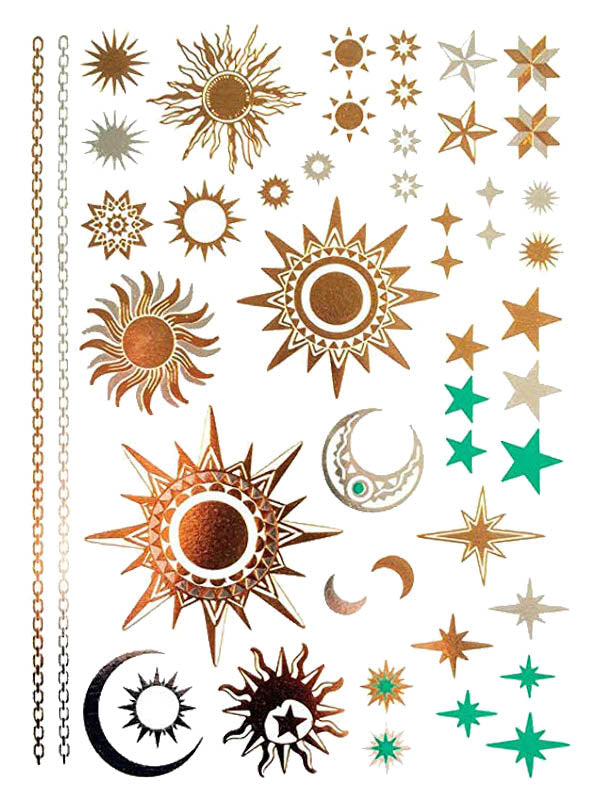 Gold Stars, Moons and Suns - Tatouage Ephémère - Tattoo Forest