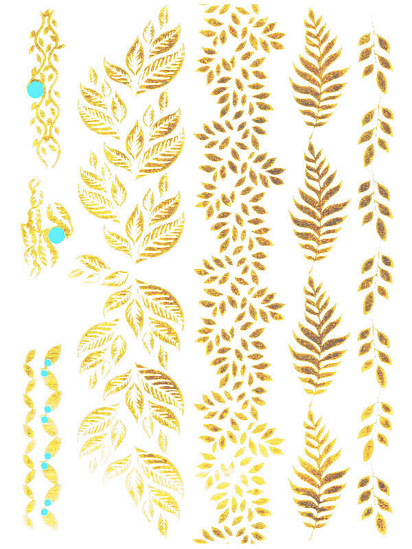 Gold and Green Leaf Jewels - Tatouage Ephémère - Tattoo Forest