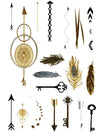 Gold and Silver Arrows, Feathers and Keys - Tatouage Ephémère - Tattoo Forest