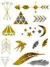 Gold and Silver Arrows, Triangles, Diamond, Moon and Stars, Birds and Feathers - Tatouage Ephémère - Tattoo Forest
