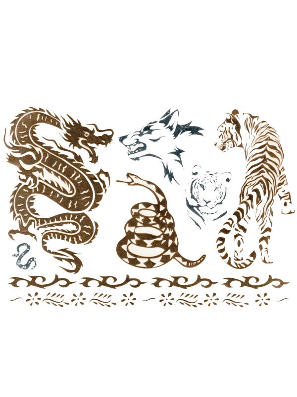 Gold and Silver Dragons, Snakes, Wolf and Tigers - Tatouage Ephémère - Tattoo Forest
