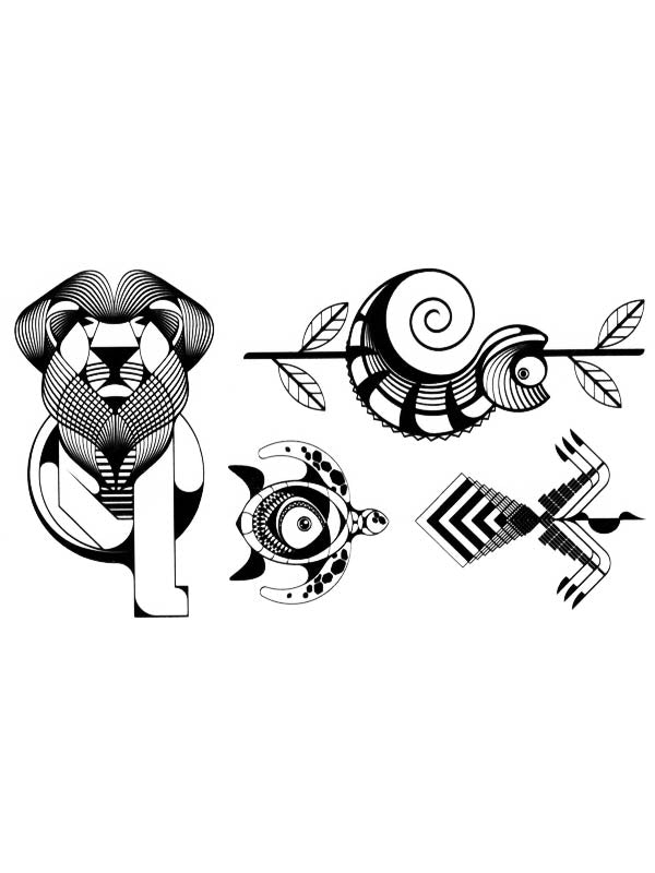 Graphic Lion, Snake, Turtle and Bird