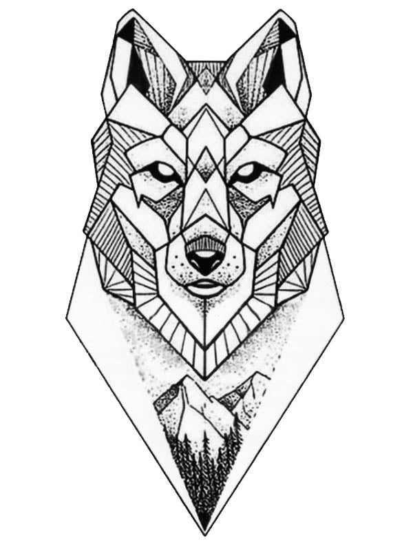 Graphic Wolf - Tatouage Ephémère - Tattoo Forest