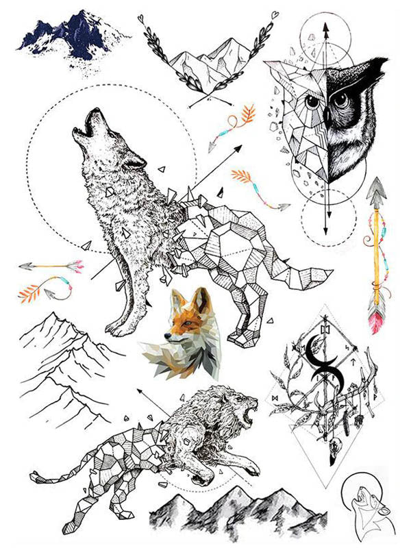 Graphic Wolf, Geometric Owl, Fox, Arrows and Lion - Tatouage Ephémère - Tattoo Forest