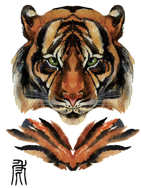 Green Eyes Tiger and Chinese Calligraphy - Tatouage Ephémère - Tattoo Forest
