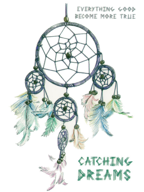 Grey Dreamcatcher with Multicolor Feathers - Tatouage Ephémère - Tattoo Forest