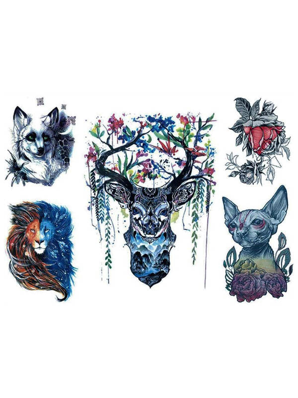 Grey Fox, Bicolor Lion, Flowered Deer and Dog - Tatouage Ephémère - Tattoo Forest