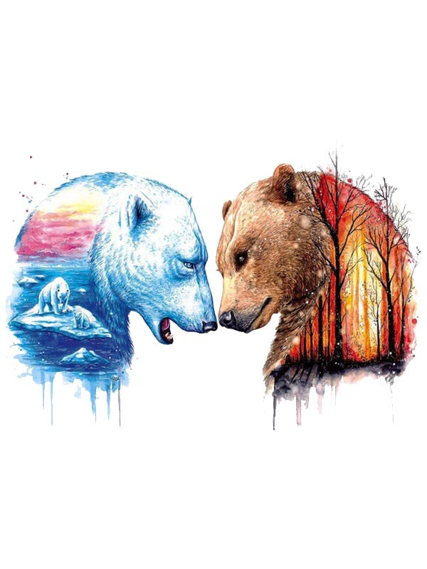 Head to Head Bears - Tatouage Ephémère - Tattoo Forest