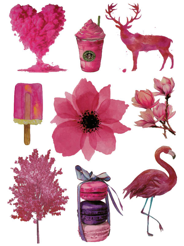 Pink Heart, Deer, Milkshake, Icecream, Flowers, Macaroons and Pink Flamingo - Tatouage Ephémère - Tattoo Forest
