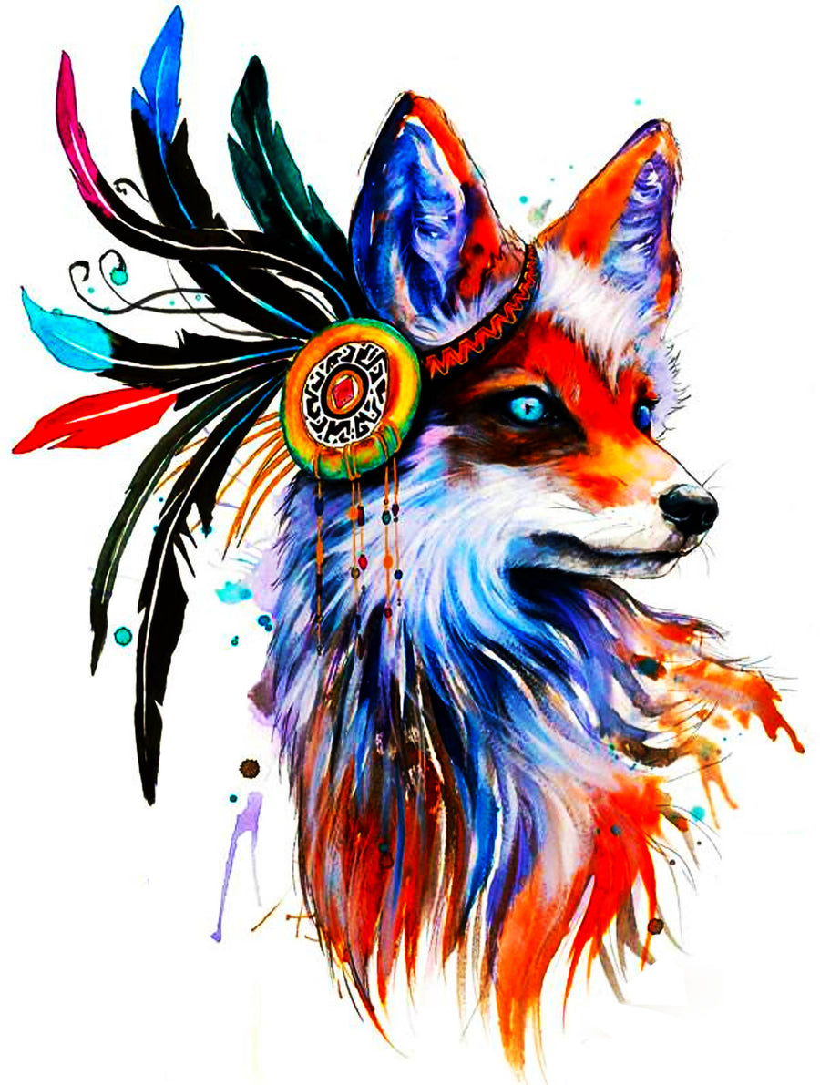 Indian Fox - Tatouage Ephémère - Tattoo Forest