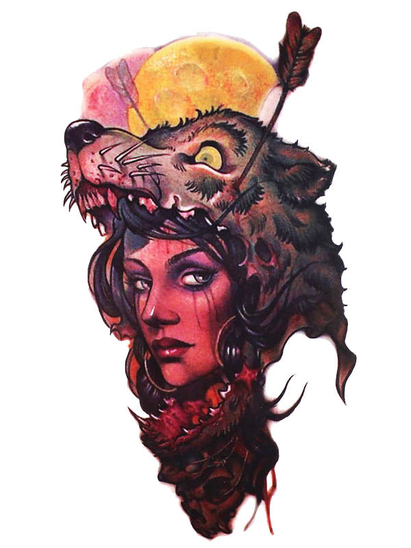 Indian Girl with a Wolf Hat - Tatouage Ephémère - Tattoo Forest