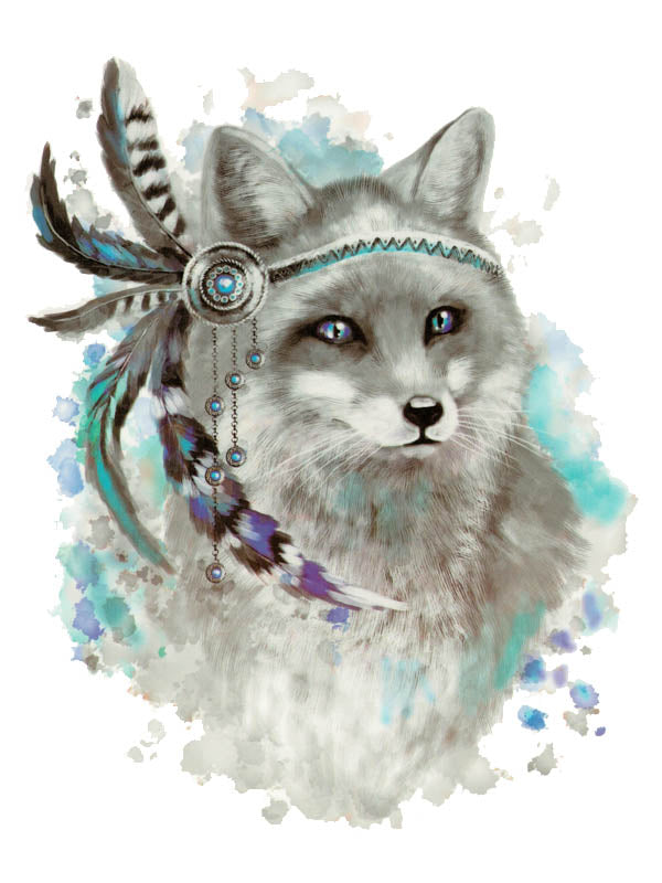 Indian Grey Fox with Feathers