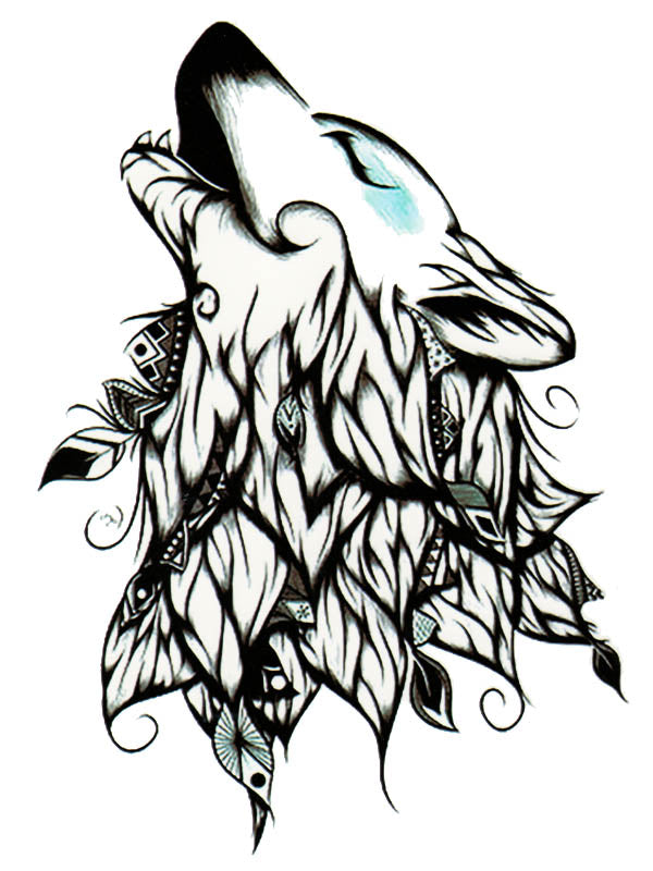 Indian White Wolf - Tatouage Ephémère - Tattoo Forest