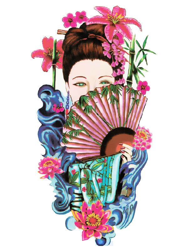 Japanese Geisha with Lotus Flowers and Fan