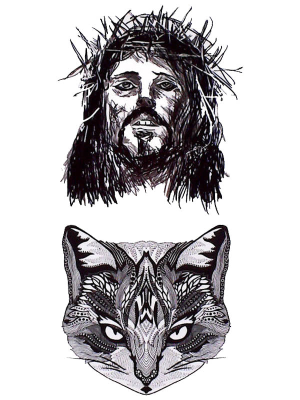 Jesus Christ and Cat - Tatouage Ephémère - Tattoo Forest