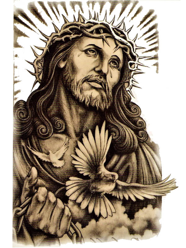 Jesus Christ and Crown of Thornes - Tatouage Ephémère - Tattoo Forest