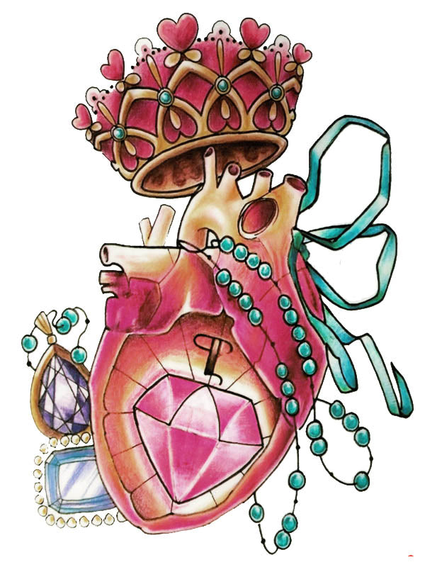 King Heart Organ, Green Pearl Necklace and Ruby - Tatouage Ephémère - Tattoo Forest