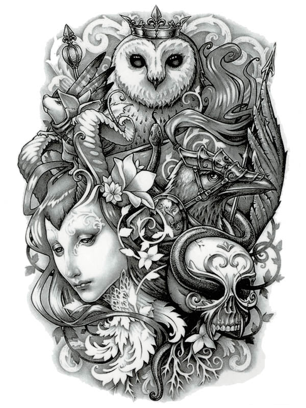 King Owl, Arrow, Raven, Snake and Skull - Tatouage Ephémère - Tattoo Forest
