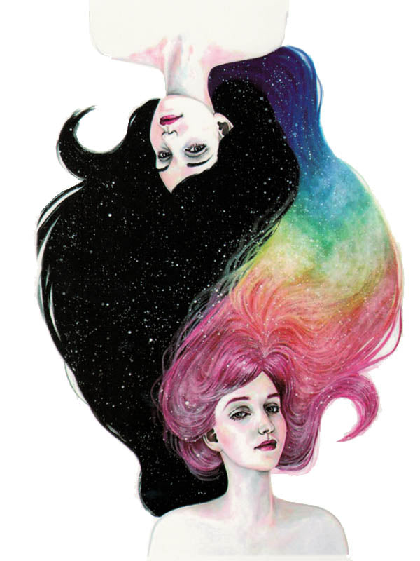 Ladies with Starred Night Hair and Rainbow Hair - Tatouage Ephémère - Tattoo Forest