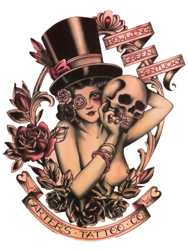Lady with a Topper Hat and Skull - Tatouage Ephémère - Tattoo Forest