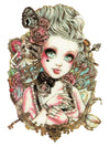 Lolita with Red Roses, Butterfly, Skull, Cards and Carrousel