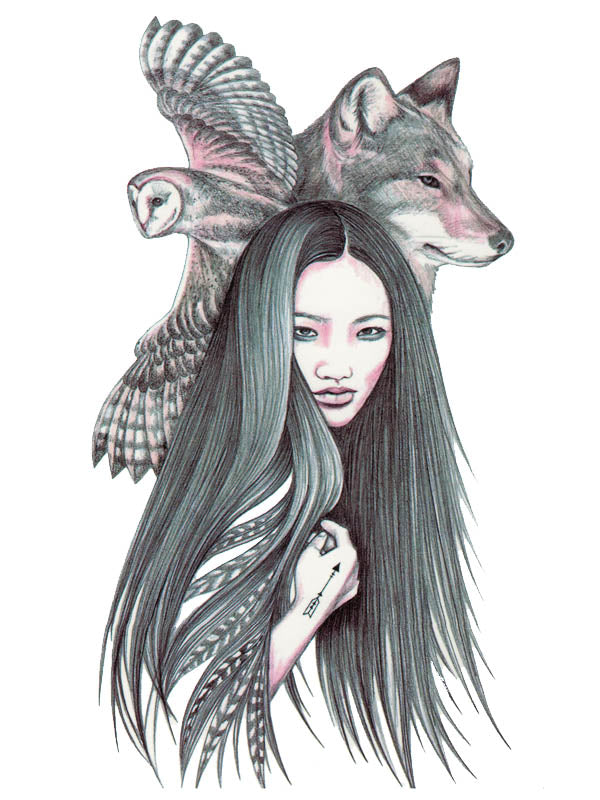 Long Hair Amerindian Lady, Owl and Wolf