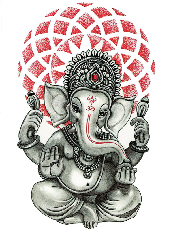Lord Ganesha with Floral Aureole