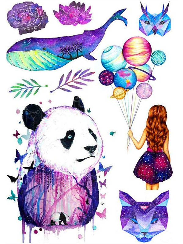 Lotus Flower, Rose, Whale, Panda, Graphic Cat and Owl, Little Girl with Balloons