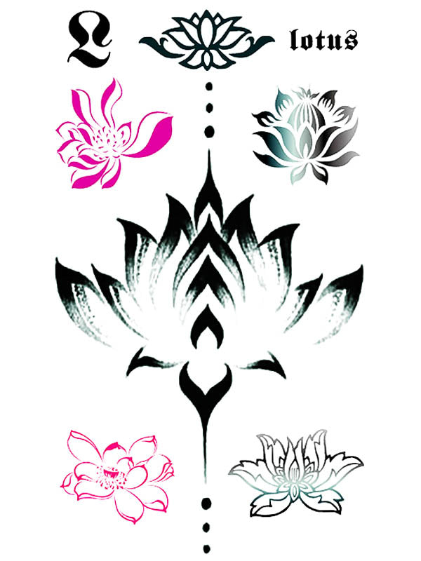 Lotus Flower Sternum Jewel - Tatouage Ephémère - Tattoo Forest