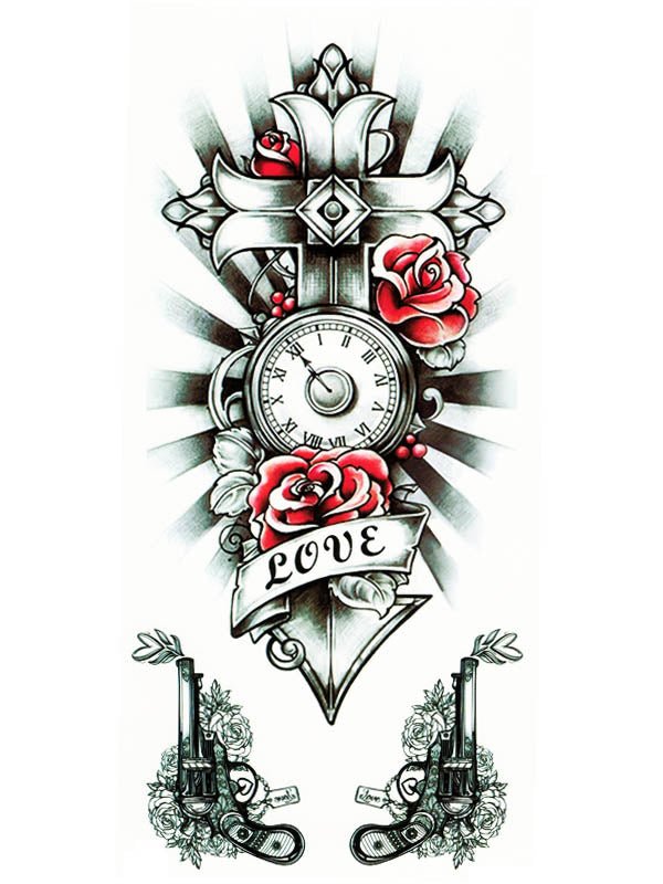 Love Clock Red Rose Cross and Pistols - Tatouage Ephémère - Tattoo Forest