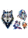 Magic Wolf, Indian Horse, Watercolor Cat and Fox - Tatouage Ephémère - Tattoo Forest