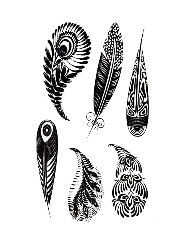 Maori Feathers - Tatouage Ephémère - Tattoo Forest