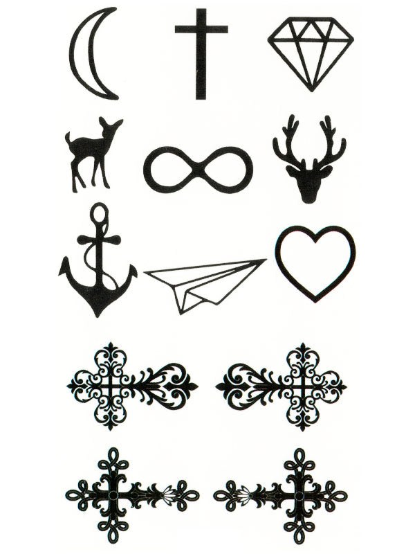 Moon, Cross, Diamond, Doe, Infinite, Deer, Anchor, Paperplane, Heart and Crosses