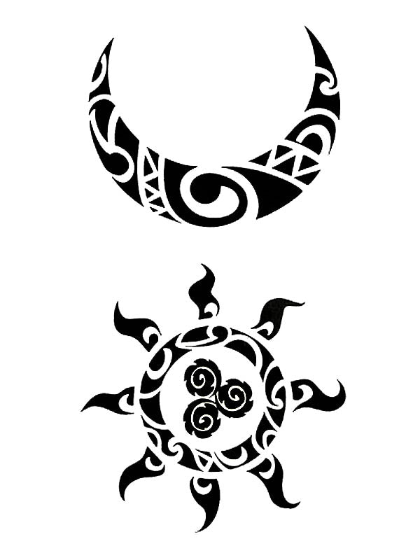 Moon Sun Tattoo Lune Soleil Maori Tatoo Ephemere Lune