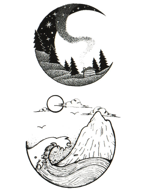 Mountain Landscape, Ocean, Sun and Moon - Tatouage Ephémère - Tattoo Forest