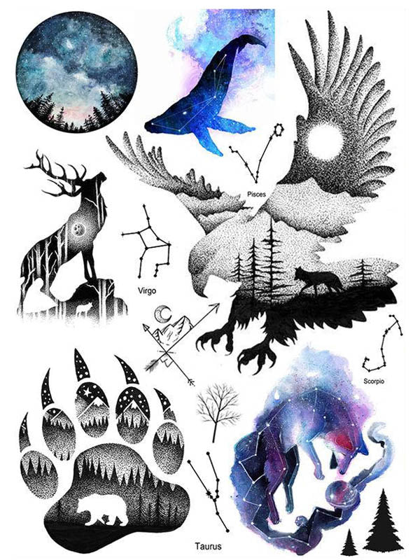 Night Sky, Deer, Eagle and Constellations - Tatouage Ephémère - Tattoo Forest