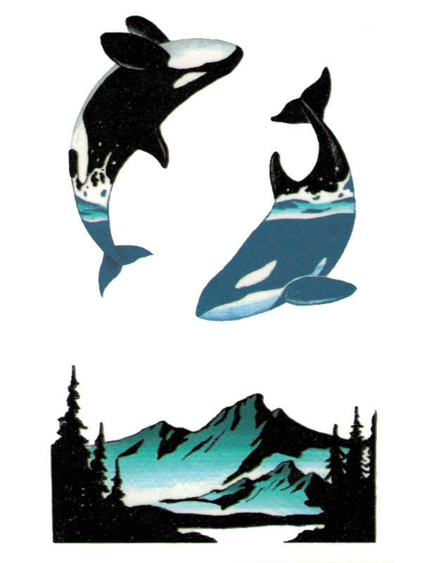 Orcas and Mountains - Tatouage Ephémère - Tattoo Forest