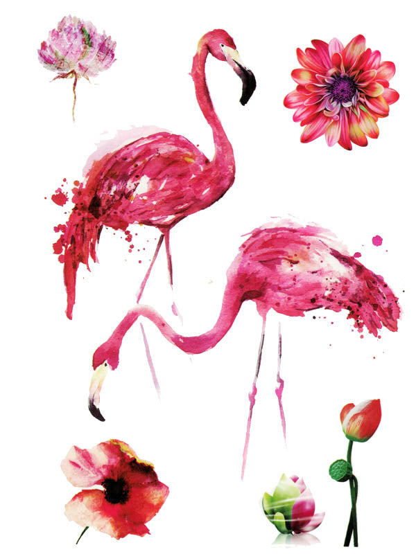 Pink Flamingos and Flowers