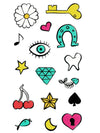 Pink Heart, Green Eye, Horseshoe, Key, Music Note, Tooth, Fishbone, Spade and Moon