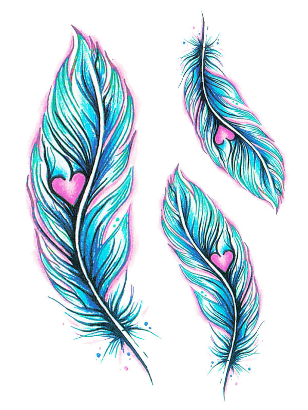 Pink Heart in a Blue Feather