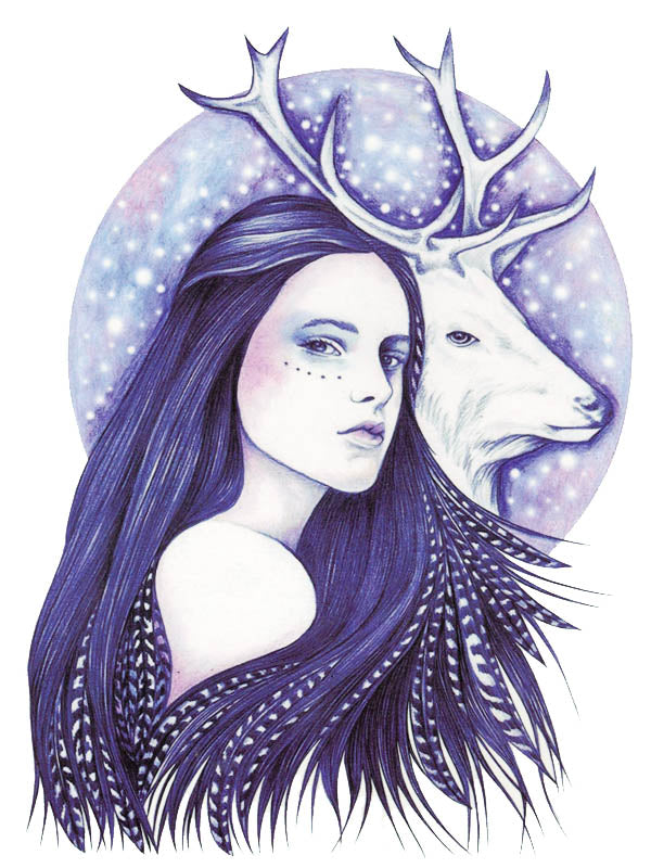 Purple Amerindian Girl and White Stag