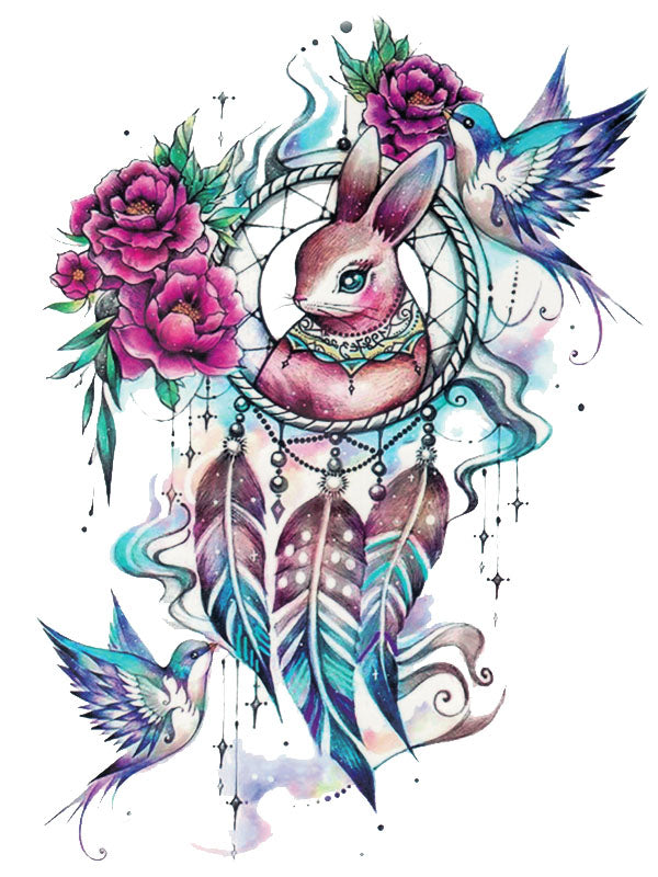 Rabbit Dreamcatcher with Birds, Flowers and Feathers - Tatouage Ephémère - Tattoo Forest
