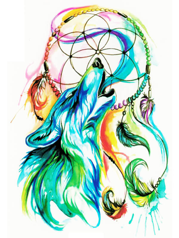 Rainbow Feather Dreamcatcher and Howling Wolf - Tatouage Ephémère - Tattoo Forest