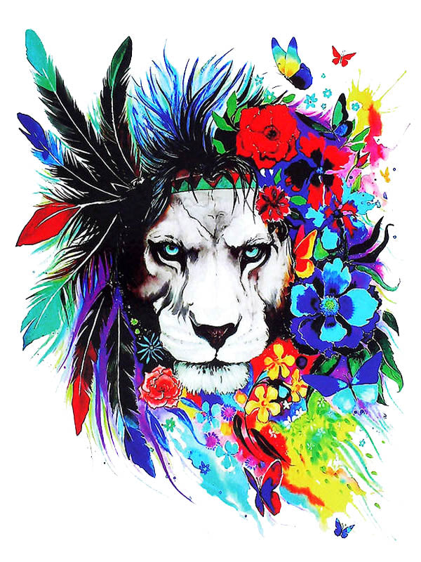 Rainbow Hippie Lion - Tatouage Ephémère - Tattoo Forest