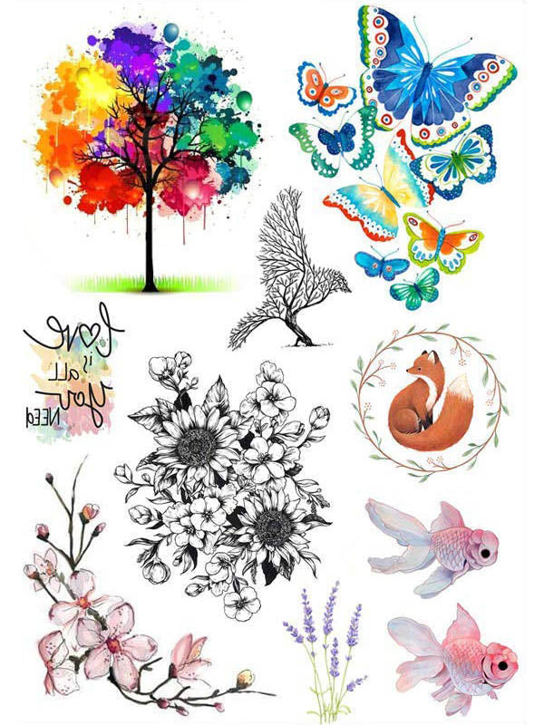 Rainbow Tree, Raven, Flowers, Goldfish and Fox - Tatouage Ephémère - Tattoo Forest