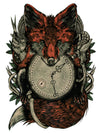 Red Fox with Clock and Hands with Scissors