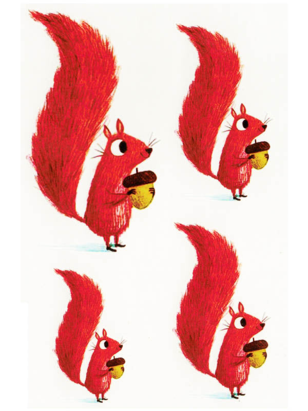 Red Squirrels with Acorn