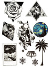 Rose, Mountain, Skull and Scultpure, Astronaut, UFO, Ice Crystals, Crown, Van Gogh Bubble and Palm Tree - Tatouage Ephémère - Tattoo Forest