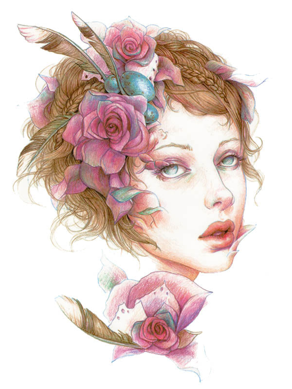 Roses and Feathers Girl