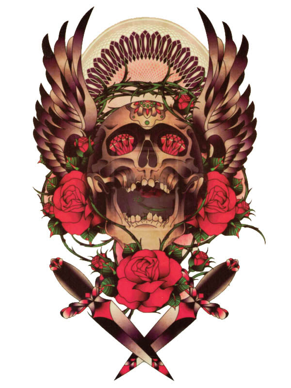 Ruby Skull with Wings, Red Roses and Daggers